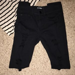 BNWOT Express Mid Rise Ripped Leggings 00L